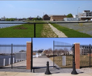 "Before & after photos by JD.  She says ""The top photo shows the view into what was then the Southeast Federal Center in April 2004; the bottom photo, in February 2012, reflects how things have changed in eight years.""  I'm no fan of turfgrass, but is this what we want our rivers to look like?"