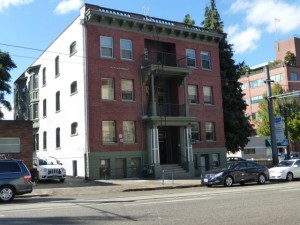 The Pinecone on SW 11th Ave. has no street trees though it does have some nice cedars on the north end of the building.