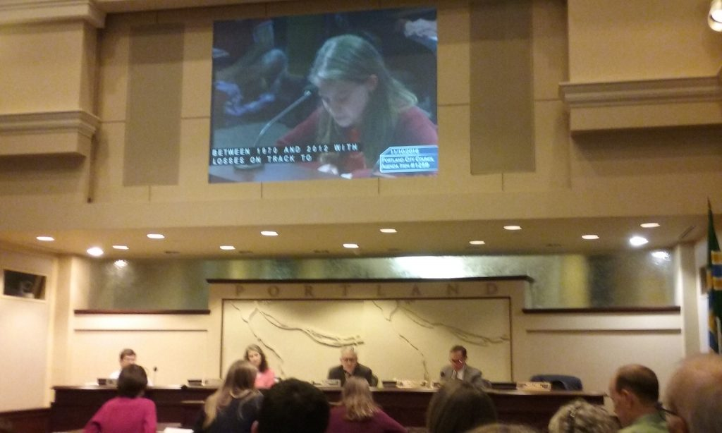 Sunnyside School Student Testifying before Portland City Council, Nov. 9, 2016.