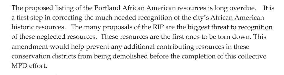 African American historic preservation activist Denyse McGriff believes AA historic resources will be hurt by RIP